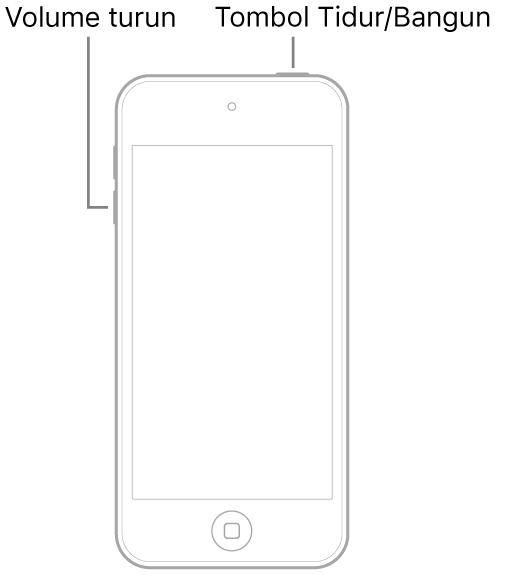 Ilustrasi iPod touch dengan layar menghadap ke atas. Tombol Tidur/Bangun ditampilkan di bagian atas perangkat, dan tombol volume turun ditampilkan di sisi kiri perangkat.