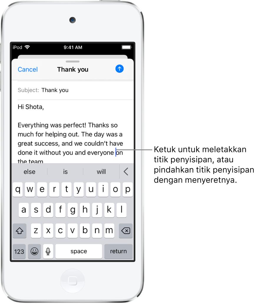 Email draf menampilkan titik penyisipan diposisikan di tempat teks akan disisipkan.