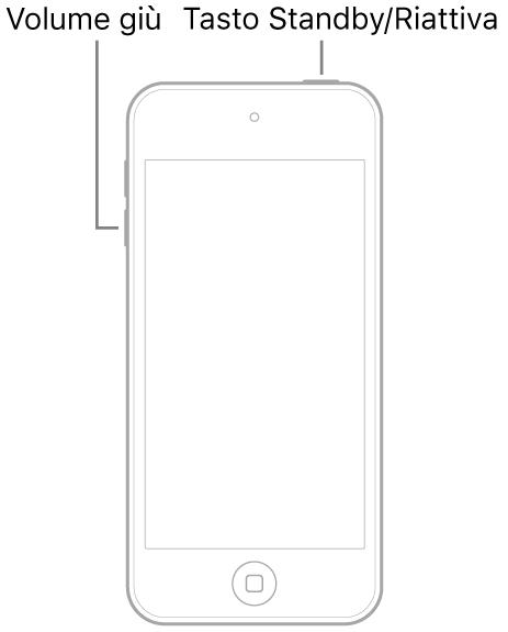 Immagine di iPod touch con lo schermo rivolto verso l'alto. Il tasto Standby/Riattiva viene mostrato in alto, mentre il tasto per abbassare il volume viene mostrato sul lato sinistro del dispositivo.