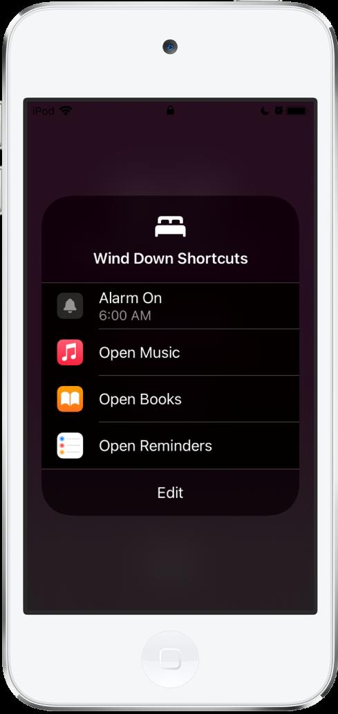 음악, 도서, 미리 알림 앱을 열기 위한 단축어가 있는 취침 준비 시간 단축어 화면.