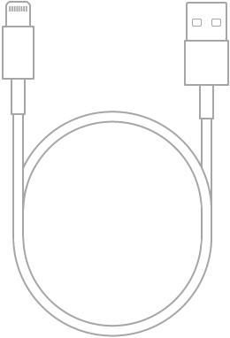 De Lightning-naar-USB-kabel die bij de iPodtouch wordt geleverd.