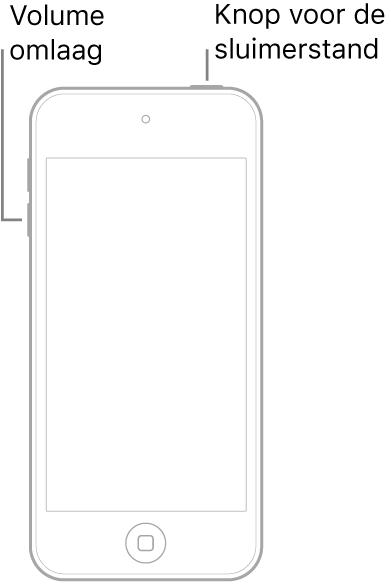 Een illustratie van een iPodtouch met het scherm naar boven gericht. De sluimerknop bevindt zich aan de bovenkant van het apparaat en de volume-omlaagknop bevindt zich aan de linkerkant van het apparaat.