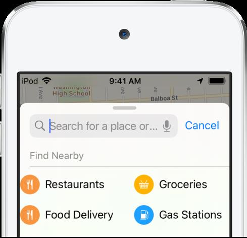 Kategorie czterech pobliskich usług widoczne poniżej pola wyszukiwania. Kategorie te to: Restauracje, Sklepy spożywcze, Dostawa jedzenia oraz Stacje paliw.