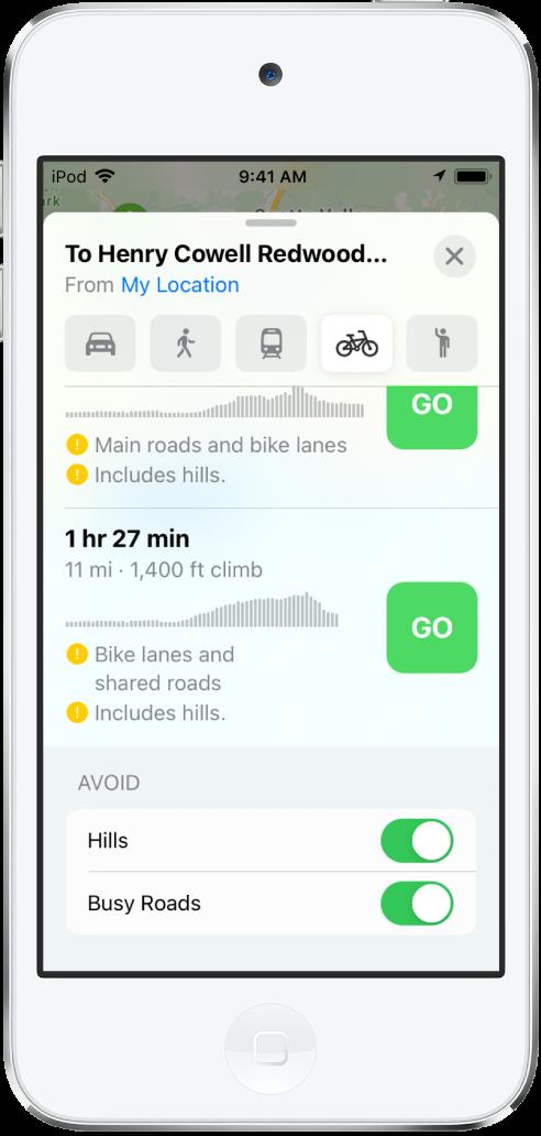 Lista de rotas de bicicleta. O botão Ir aparece em cada rota, além de informações sobre a rota, incluindo o tempo estimado, alterações de elevação e tipos de vias.