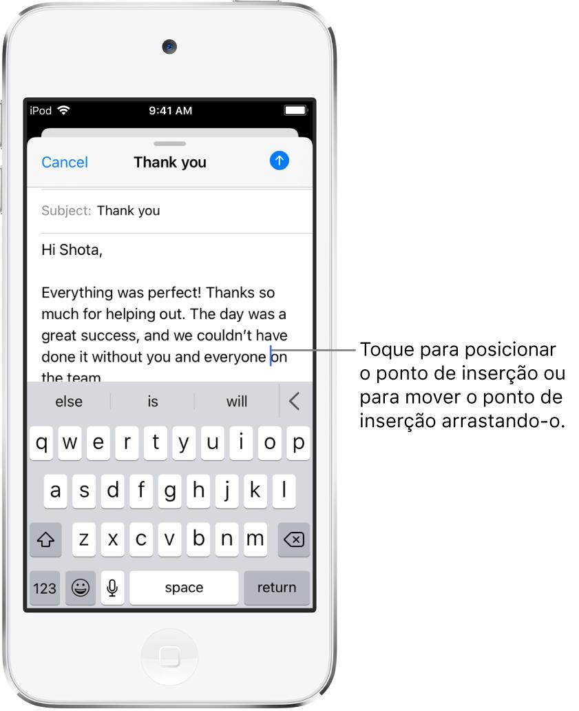 Um rascunho de e‑mail que mostra o ponto de inserção posicionado onde o texto será inserido.
