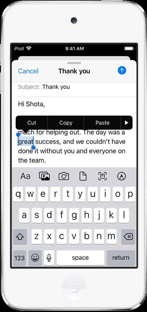 Exemplo de uma mensagem de e‑mail com algum texto selecionado. Acima da seleção estão os botões Cortar, Copiar, Colar e Mostrar mais. O texto selecionado está destacado, com puxadores em ambas as extremidades.