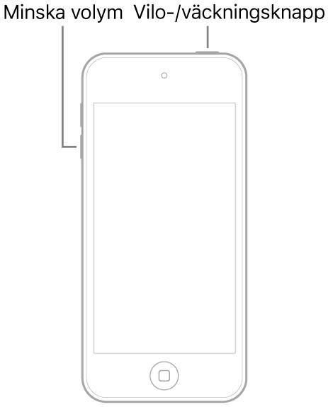 Bild på iPodtouch med skärmen vänd uppåt. Knappen för vila/väckning visas upptill på enheten och knappen för volym ned visas på vänster sida av enheten.