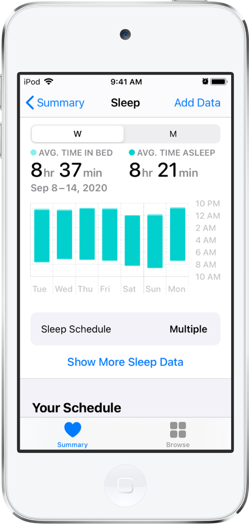 หน้าจอนอนหลับที่แสดงข้อมูลสำหรับสัปดาห์ ซึ่งรวมถึงเวลาบนเตียงนอนโดยเฉลี่ย เวลานอนหลับโดยเฉลี่ย และกราฟของเวลาบนเตียงนอนและเวลานอนหลับในแต่ละวัน