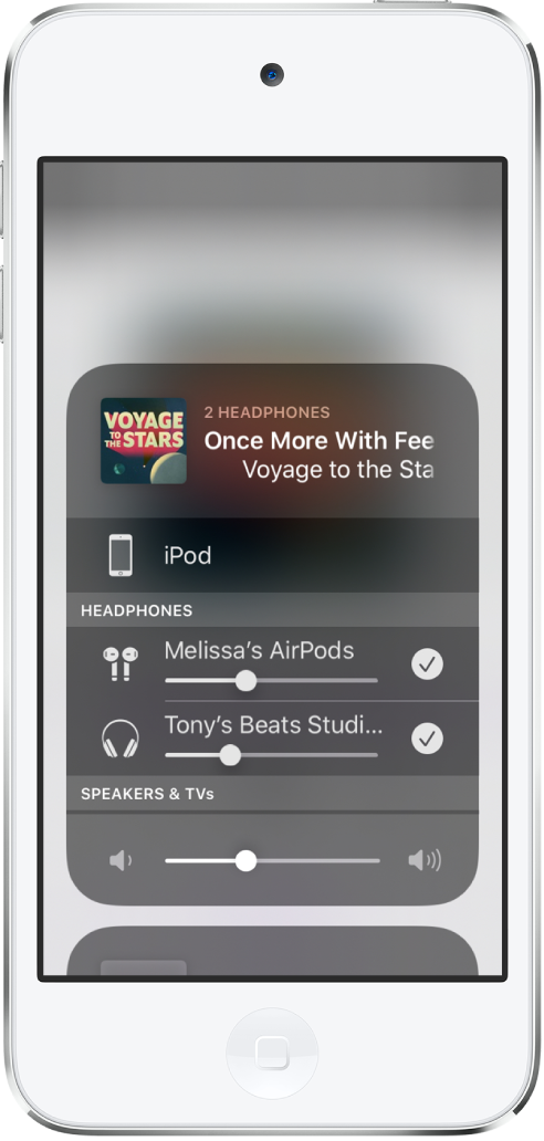 iPod touch 螢幕顯示兩對已連接的 AirPods。