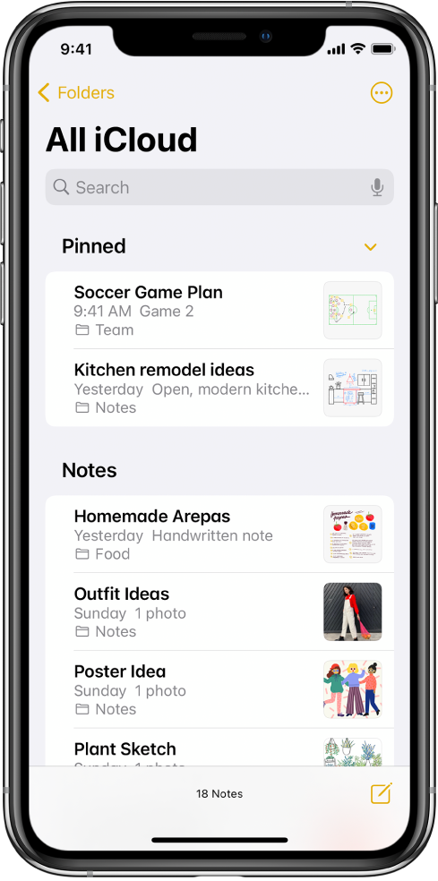 البحث عن الملاحظات وتنظيمها في مجلدات على الـ Iphone الدعم Apple
