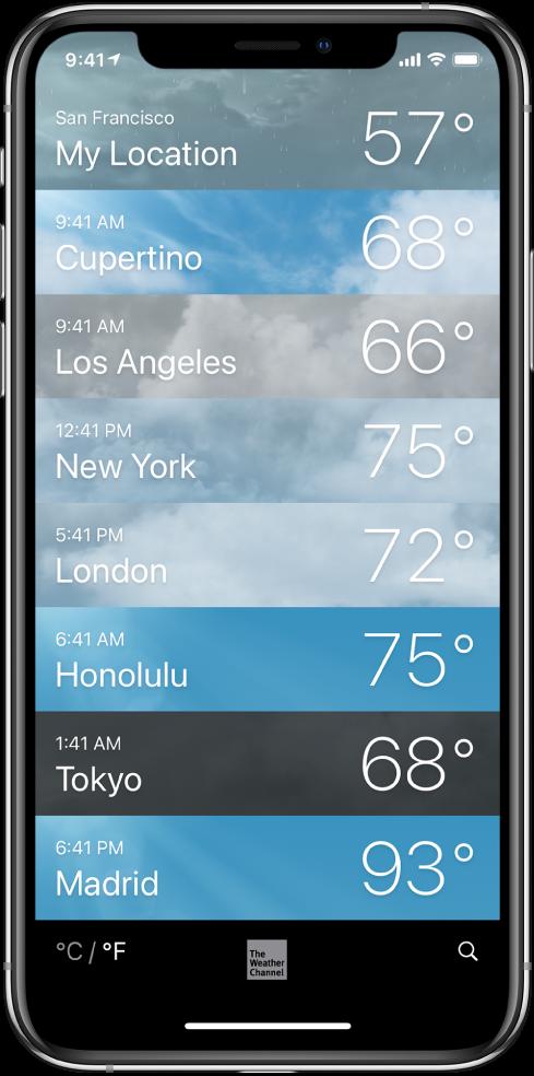 قائمة مدن يظهر بها الوقت ودرجة الحرارة الحالية لكل مدينة.
