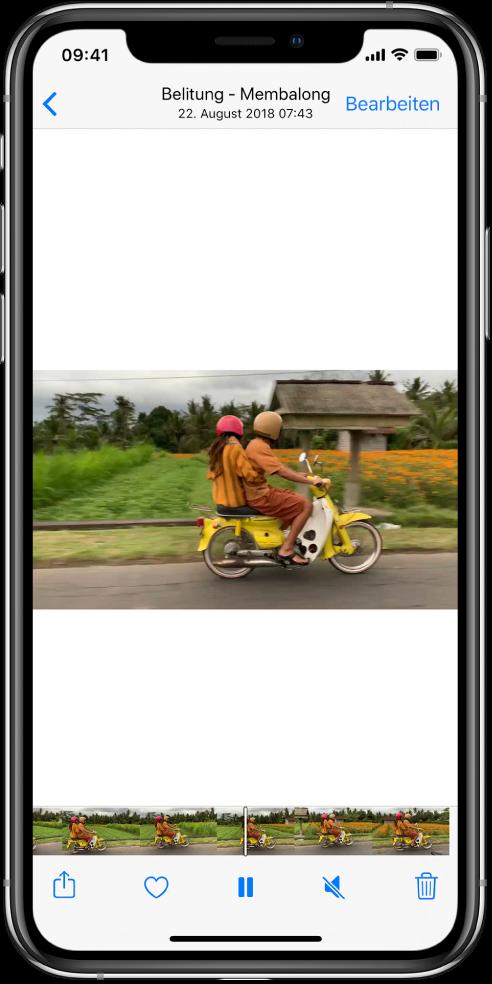 """Ein Videoplayer befindet sich in der Mitte des Bildschirms. Unten befindet sich eine Bildansicht, in der die Videobilder von links nach rechts angezeigt werden. Unter der Bildansicht befinden sich, von links nach rechts, die Tasten """"Teilen"""", """"Favorit"""", """"Pause"""", """"Stumm"""" und """"Löschen""""."""