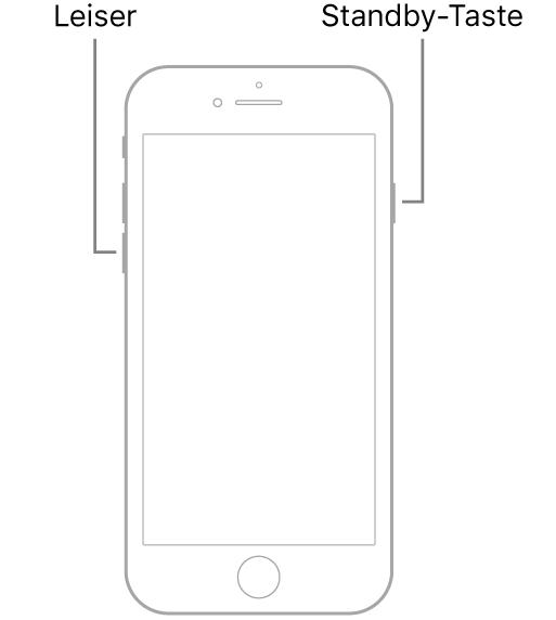 """Eine Darstellung des iPhone 7 mit dem Display nach oben. Die Lautstärketaste """"Leiser"""" befindet sich an der linken Seite. Die Standby-Taste sitzt rechts."""