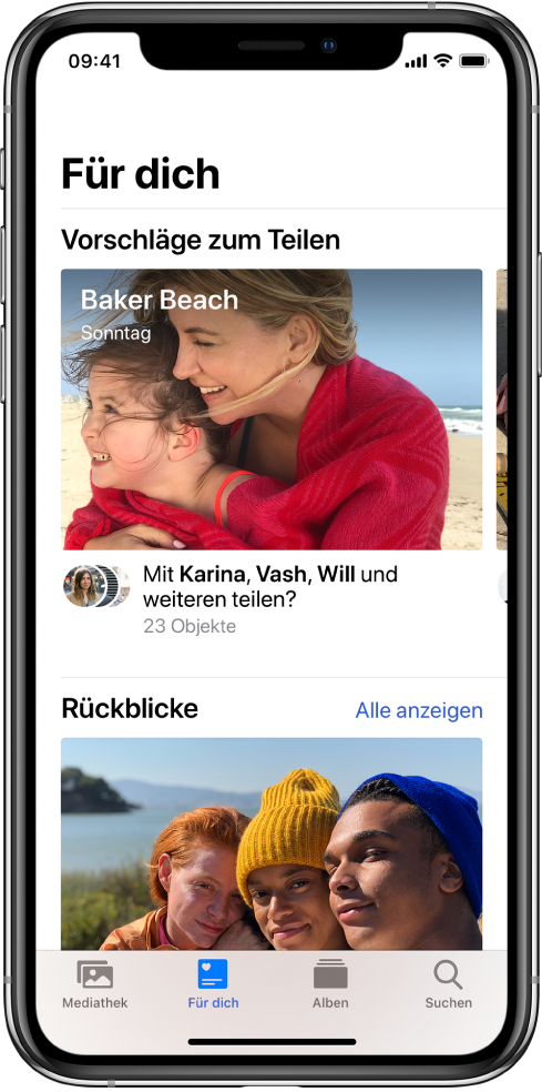 """Der Tab """"Für dich"""" ist unten auf dem Bildschirm der App """"Fotos"""" ausgewählt. Oben auf dem Bildschirm """"Für dich"""" befindet sich die Bezeichnung """"Vorschläge zum Teilen"""" und unter der Bezeichnung ist eine Sammlung von Fotos mit dem Titel """"Baker Beach, Sonntag"""". Unter der Sammlung befindet sich die Option zum Teilen der Fotos mit Personen, die auf den Fotos zu sehen sind."""