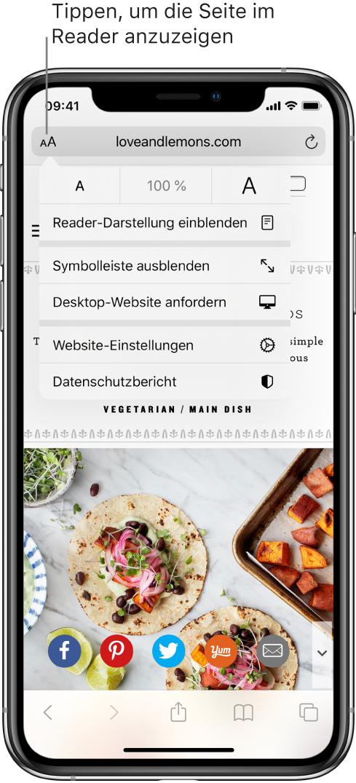 """Das Adressfeld in Safari mit der Taste """"Reader"""" links."""