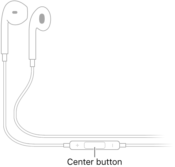 Apple EarPods; the center button is located on the cord leading to the earpiece for the right ear.