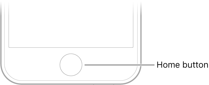 The Home button at the bottom of iPhone.