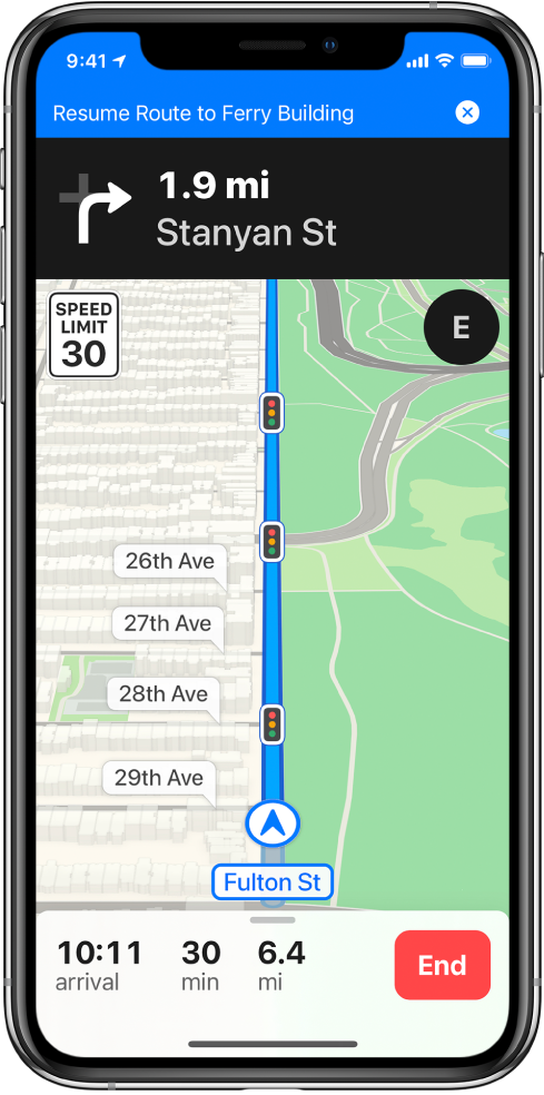 A map of driving directions with a blue banner at the top of the screen for resuming a route to Ferry Building.