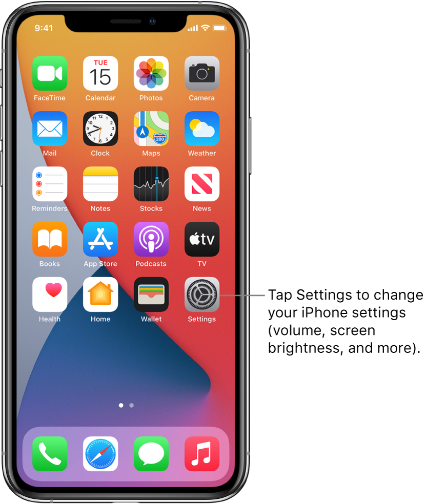 The Home Screen with several app icons, including the Settings app icon, which you can tap to change your iPhone sound volume, screen brightness, and more.
