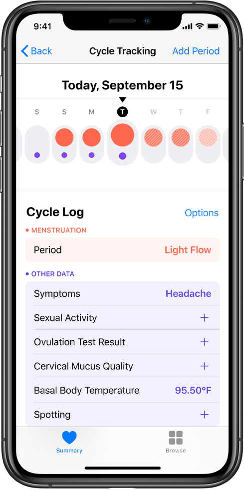 La pantalla Control de Ciclos de la app Salud.