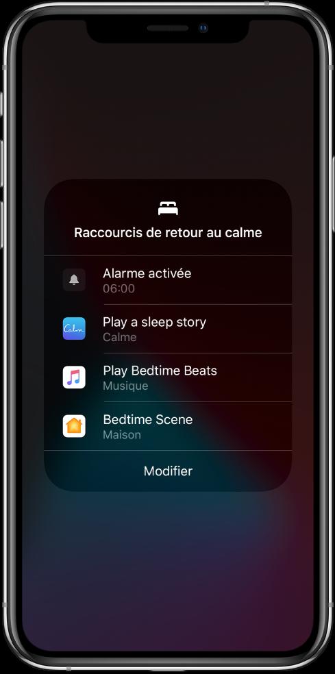 Écran «Raccourcis de retour au calme» avec des raccourcis permettant d'écouter une histoire pour aller se coucher, écouter des morceaux pour s'endormir et lancer une scène pour le sommeil de l'app Maison.