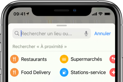 Des catégories correspondant à six services à proximité s'affichent en dessous du champ de recherche. Les catégories sont Restaurant, Épiceries, «Livraisons de nourriture» et «Stations-service».
