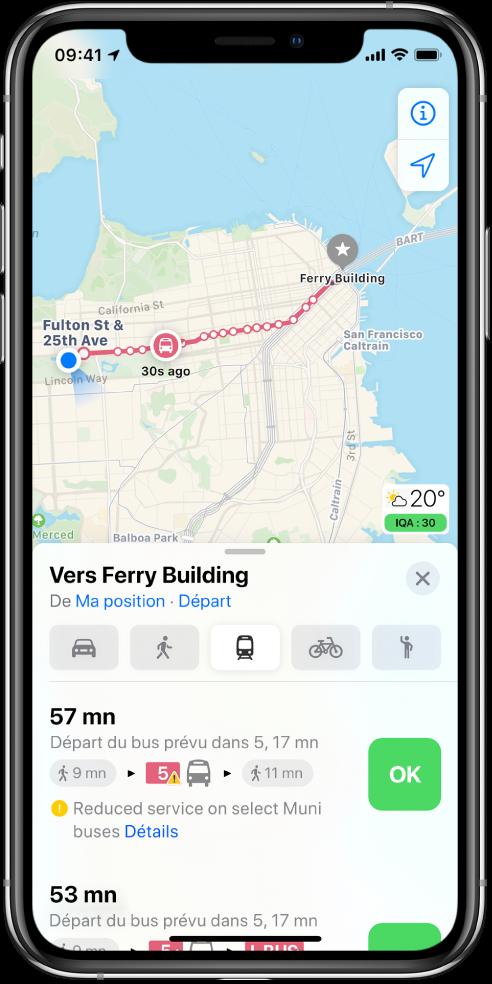 Plan affichant un itinéraire en transports en commun à San Francisco. La fiche d'itinéraire en bas de l'écran inclut un bouton Démarrer.