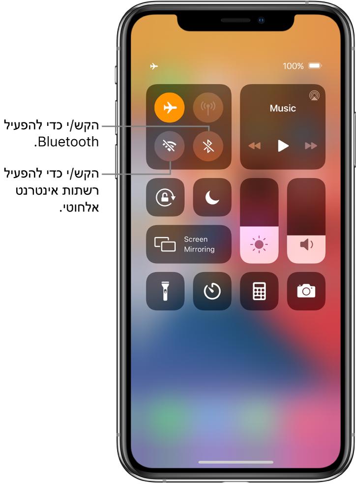 ״מרכז הבקרה״ במצב ״טיסה״. הכפתורים להפעלת אינטרנט אלחוטי ו-Bluetooth נמצאים קרוב לפינה הימנית העליונה של המסך.
