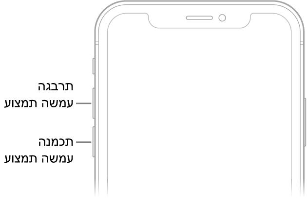 החלק העליון של חזית ה‑iPhone עם כפתורי הגברת עוצמת הקול והנמכת עוצמת הקול משמאל למעלה.