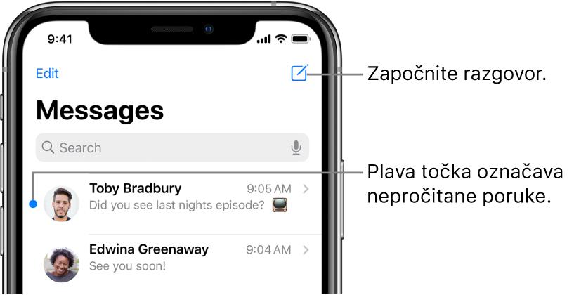 Popis Poruka s tipkom Uredi poruke nalazi se u gornjem lijevom kutu, a tipka Sastavi u gornjem desnom kutu. Plava točka s lijeve strane poruke označava da je ona nepročitana.