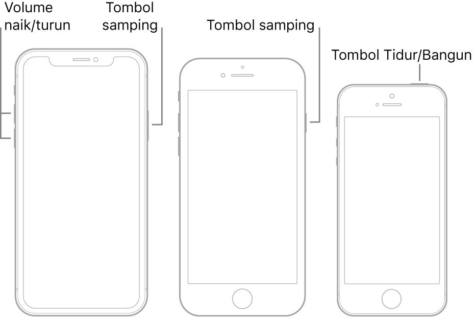 Ilustrasi tiga model iPhone berbeda, semua dengan layar menghadap ke atas. Ilustrasi paling kiri menampilkan tombol volume naik atau volume turun di sisi kiri perangkat. Tombol samping ditampilkan di kanan. Ilustrasi tengah menampilkan tombol samping di kanan perangkat. Ilustrasi paling kanan menampilkan tombol Tidur/Bangun di bagian atas perangkat.