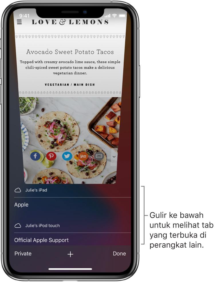 Di bawah tab yang terbuka di perangkat ini, daftar tab yang terbuka di perangkat lain.