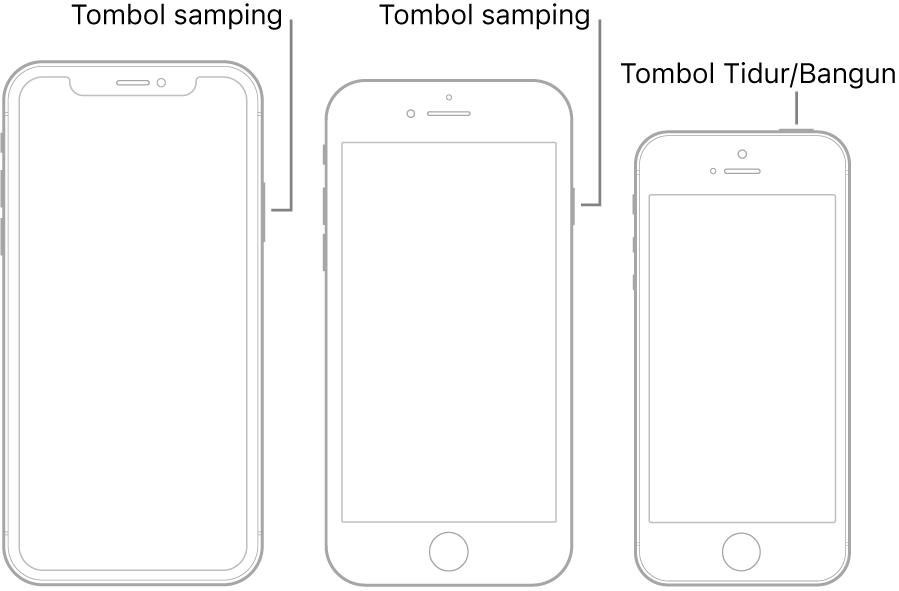 Ilustrasi menampilkan lokasi tombol samping dan Tidur/Bangun di iPhone.