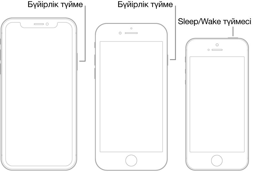 iPhone құрылғысындағы бүйірлік Sleep/Wake түймелерінің орындарын көрсетіп тұрған сурет.