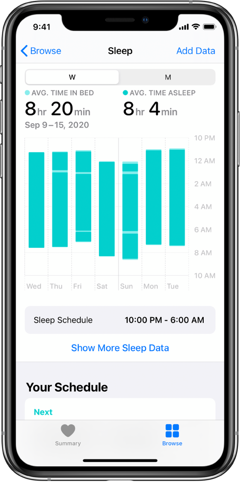 Miegojimo ekrane rodomi savaitės duomenys, įskaitant vidutinį lovoje praleistą laiką, vidutinį miegojimo laiką ir kasdienį lovoje praleistą bei miegojimo laiką.
