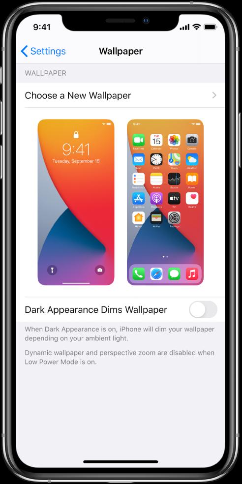 Fono paveikslėlio nustatymų ekranas su naujo fono paveikslėlio parinkimo mygtuku viršuje ir užrakinimo ekrano bei pradžios ekrano su dabartiniu fono paveikslėliu vaizdai.