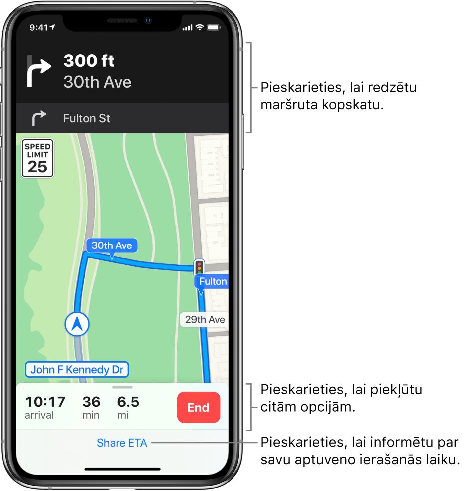 Karte, kurā parādīts braukšanas maršruts, tostarp norādījums pagriezties pa labi pēc 100metriem. Kartes apakšdaļā pa kreisi no pogas End ir norādīts ierašanās laiks, laiks ceļā un kopējais attālums. Ekrāna apakšdaļā ir redzams elements Share ETA.