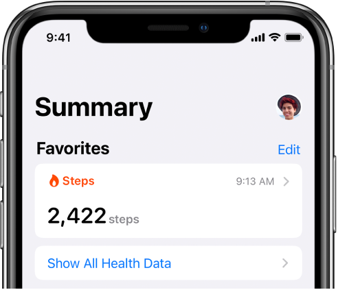 Zaslon »Summary«, ki prikazuje sliko profila zgoraj desno.