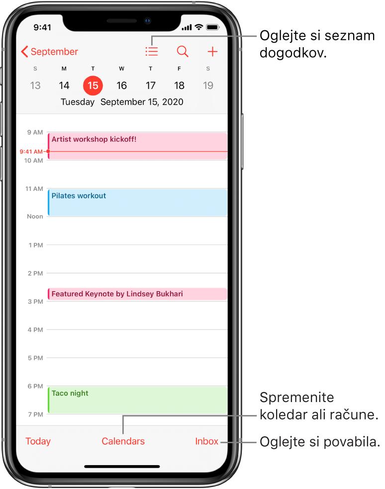 Koledar v dnevnem pogledu, ki prikazuje dogodke določenega dne. Tapnite gumb »Calendars« na spodnjem delu zaslona, da spremenite račun koledarja. Tapnite gumb »Inbox« v spodnjem desnem kotu zaslona, da si ogledate vabila.