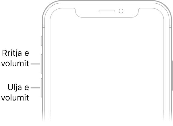 Pjesa e sipërme e pjesës së përparme të iPhone me butonat e rritjes dhe të uljes së volumit në të majtë lart.