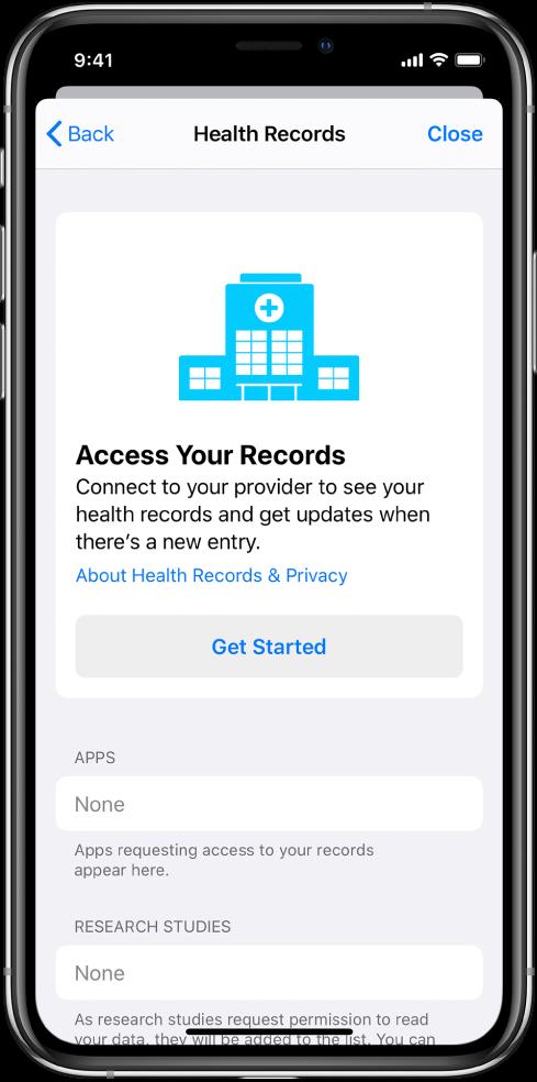 Екран Get Started за подешавање преузимања здравствених записа.