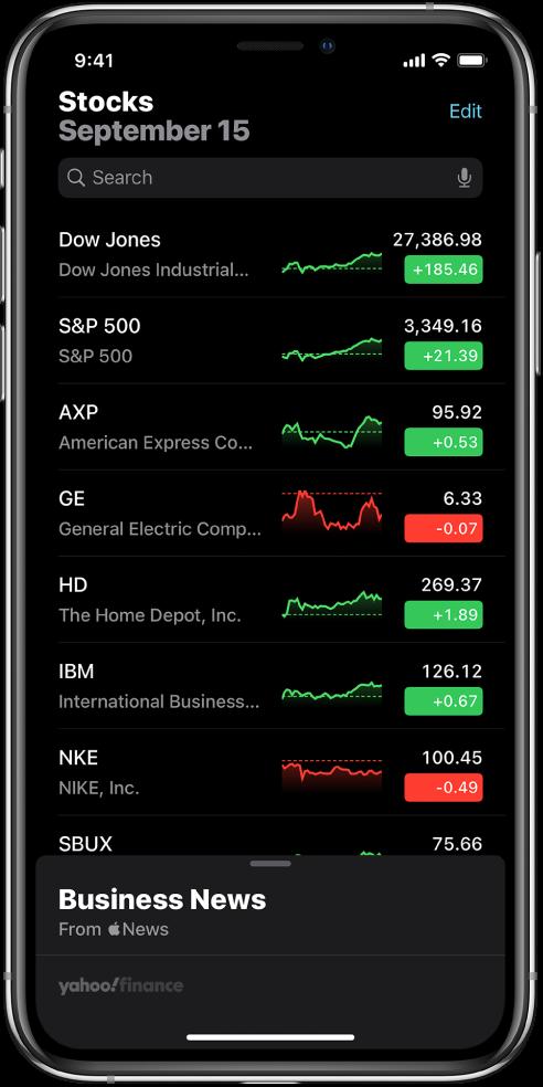 Список стеження зі списком різних акцій. Для кожної акції в списку зліва направо відображаються біржовий символ та назва, графік змінення характеристик, ціна акції та зміна в ціні. Угорі екрана над списком стеження розташоване поле пошуку. Під списком стеження— кнопка Business News (Бізнес-новини). Посуньте вгору на Business News (Бізнес-новини), щоб відобразити статті.