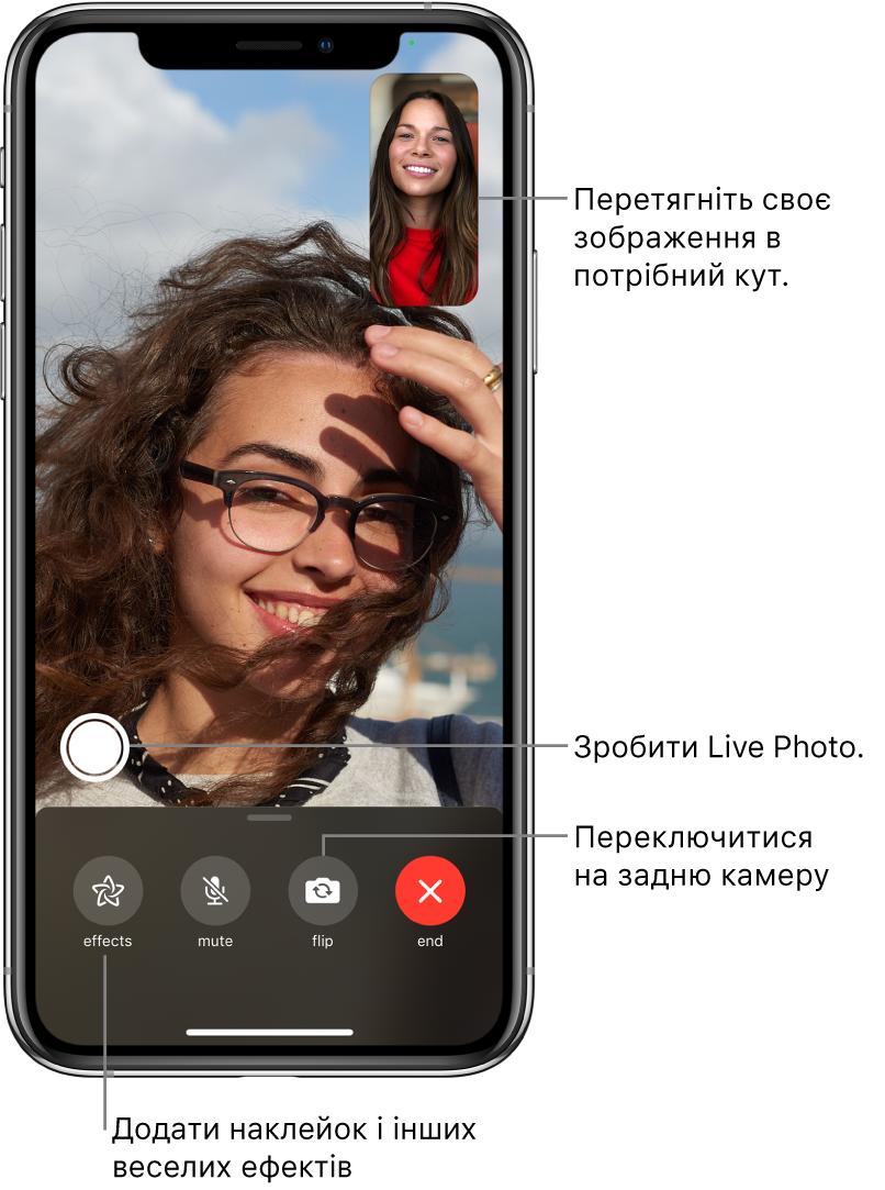 Екран FaceTime із поточним викликом. Ваше зображення з'являється в невеликому прямокутнику вгорі праворуч, а зображення співрозмовника заповнює решту екрана. У нижній частині екрана міститься рядок таких кнопок: «Ефекти», «Вимкнути звук», «Змінити камеру» та «Завершити». Над ними розташовано кнопку LivePhoto.