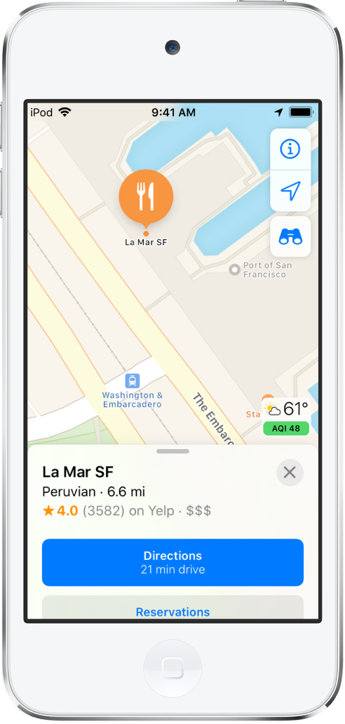 A map showing the location of a restaurant. The information card at the bottom of the screen includes buttons for making reservations and getting directions.