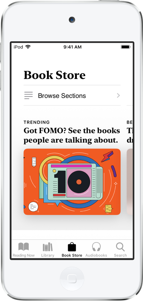 In the Books app, a screen in the Book Store. At the bottom of the screen are, from left to right, the Reading Now, Library, Book Store, AudioBooks, and Search tabs--the Book Store tab is selected. The screen also shows books and categories of books to browse and purchase.