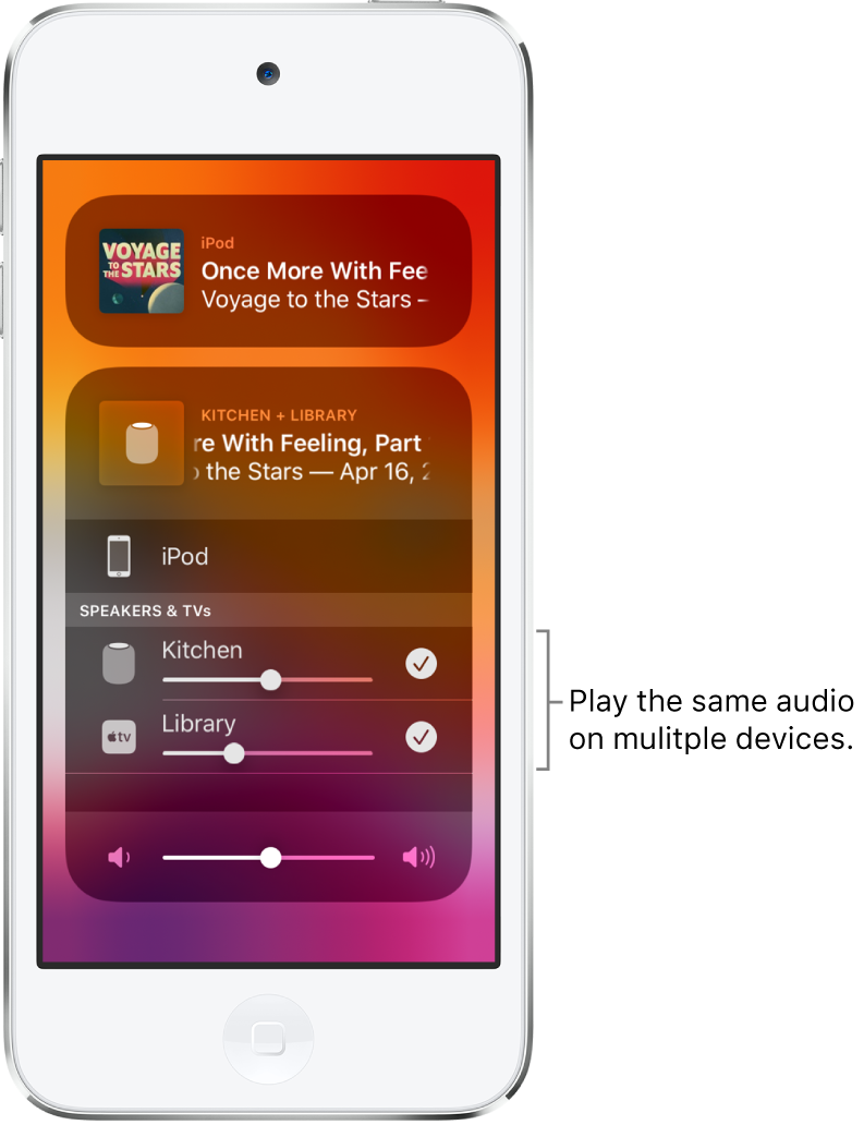 The iPod touch screen showing HomePod and Apple TV as selected audio destinations.