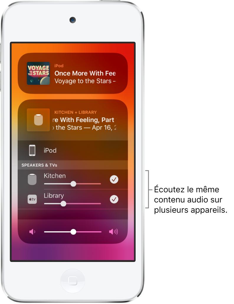 L'écran de l'iPodtouch affichant le HomePod et l'AppleTV comme destinations audio sélectionnées.