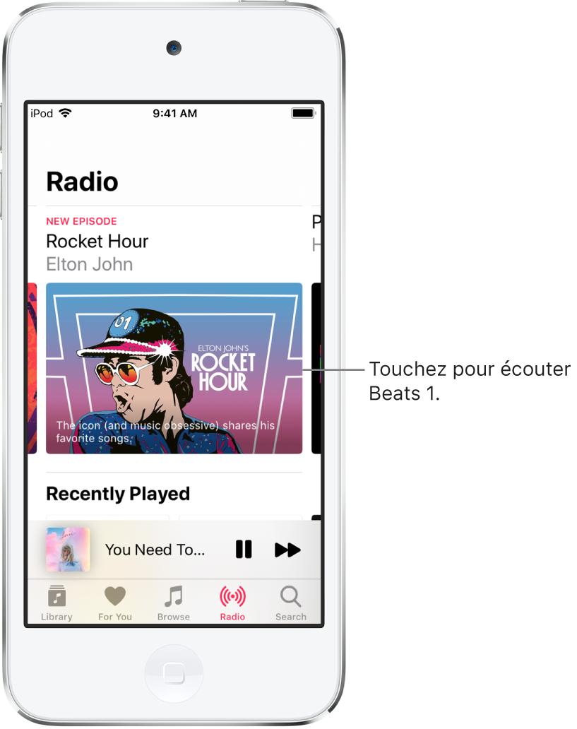 L'écran Radio affichant la radio Beats1 en haut. Beats1 et les stations de radio apparaissent en dessous.