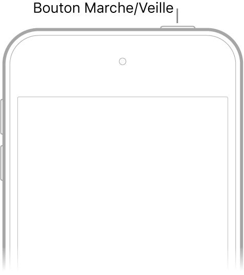 La face avant de l'iPodtouch avec le bouton Marche/Veille.