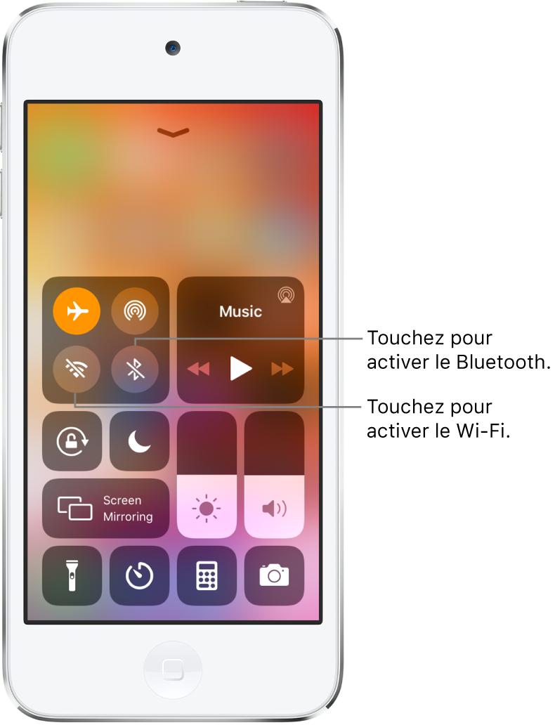 Le Centre de contrôle avec le mode Avion activé et des légendes expliquant que toucher le bouton en bas à gauche dans le groupe de commandes situé en haut à gauche active le Wi-Fi, et que toucher le bouton en bas à droite au sein de ce groupe active le Bluetooth.